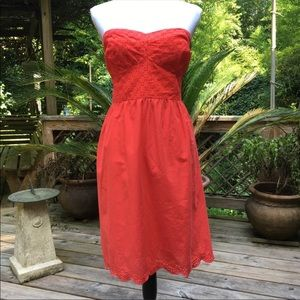Red strapless cotton dress EUC